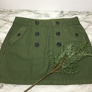 J. Crew Olive Green Front Wrap With Buttons Skirt